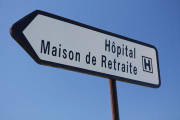 Pancarte hopital et maison de retraite