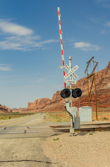 A Railway Crossing in Desert Setting