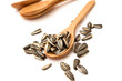 Sunflower seed on wood spoon