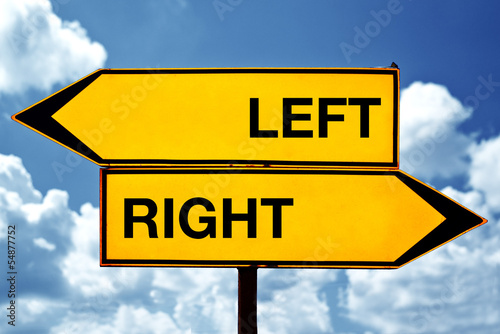 Left or right, opposite signs