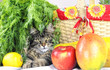 Cat with fruits