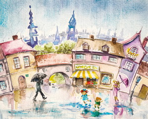 City scene-people in the town square at summer rain