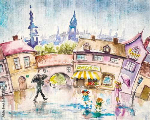 miasto-scena-ludzie-na-rynku-przy-lato-deszczem
