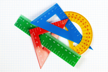 Protractor ruler and items for school and education. On a sheet