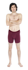 Isolated Frowning Scrawny Caucasian Adult Man Wearing Underwear