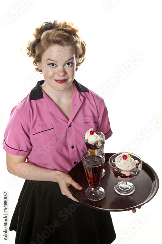 Vintage Style Waitress Serving Ice Cream and Sodas