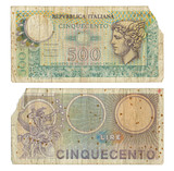 Discontinued Italian 500 Lire Money Note