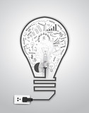Vector creative light bulb with drawing charts and graphs