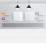 Vector interior design with home furniture icons
