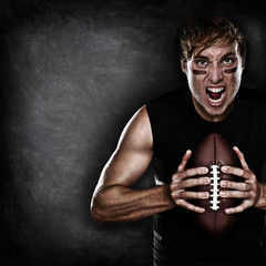 Football player aggressive with american football