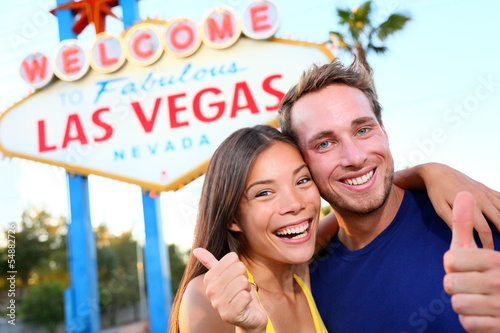 Las vegas couple happy at sign
