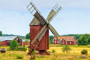 Old windmill in a rural landscape - Åland, Finland