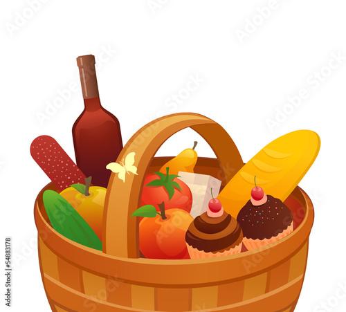 剪贴画午餐喝孤立对象插图早餐水果没有人漫画瓶番茄白色篮子背景葡萄