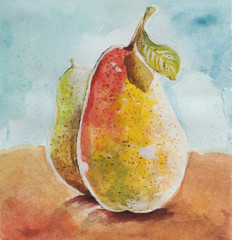 pears watercolor