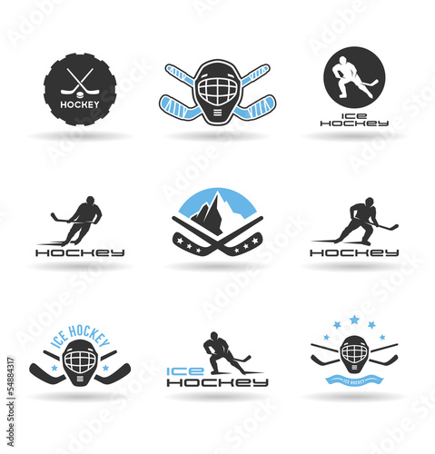 Set of ice hockey icons.