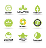 Set of leaves. Set of organic food badges (9).