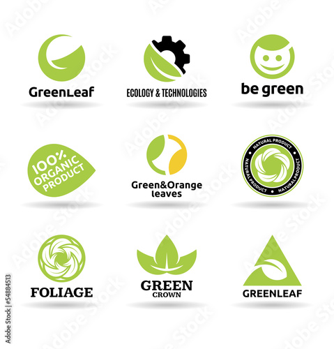 Set of leaves. Set of organic food badges (10).