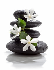 tiare flowers and tower black stone spa
