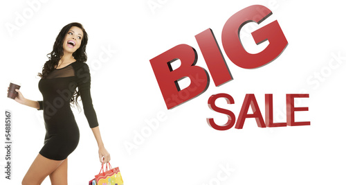 Sale concept. Woman with shoping bags.
