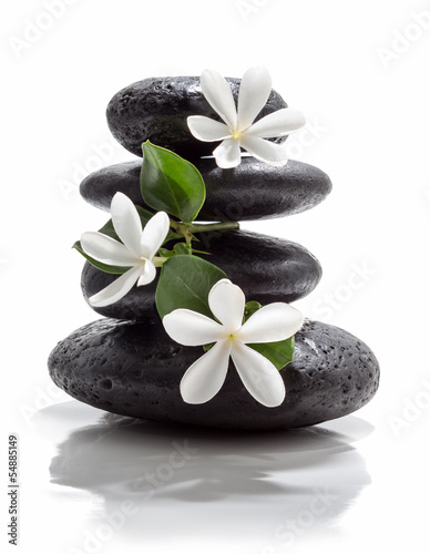 Poster, Tablou tiare flowers and tower black stone spa