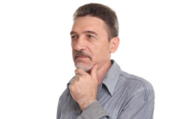 Close-up of a  man thinking and looking away
