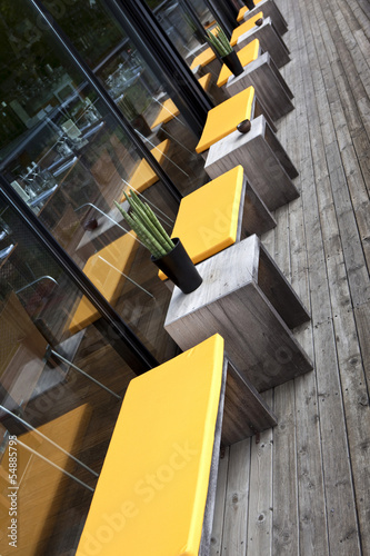 Terrasse, restaurant, patio, salon de jardin, bois, mobilier