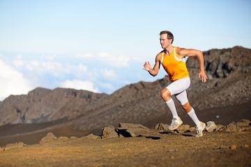 Running sport runner man sprinting in trail run