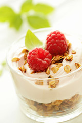 fresh yogurt with fruits and muesli