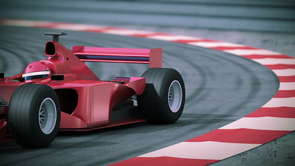 F1 red bolide in slow motion. Beautiful 3d animation.