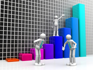 3D Group of the corporate people with a business growth chart