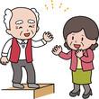 玄関で立ち話する高齢者と中年女性