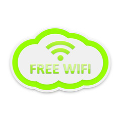 Green Free Wifi Cloud Icon