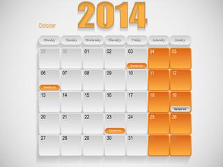 Calendar design October