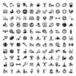 big fitness and diet icons set