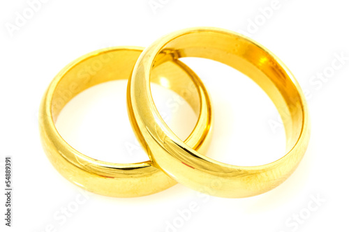 Pair of golden wedding rings