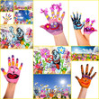 Happy, colorful, smiling Hands
