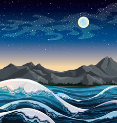 Sea with waves and night sky.