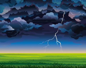 Stormy sky with lightning and green field