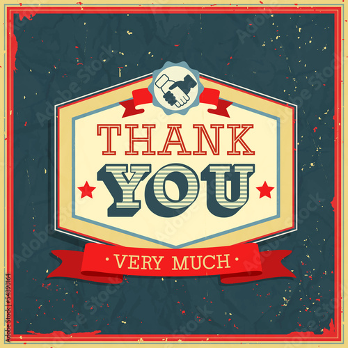 Vintage card - Thank You. Vector illustration.
