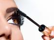 Mascara Applying. Long Lashes closeup