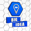big idea and light bulb symbol in blue hexagon and blocks