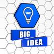 big idea and light bulb symbol in blue hexagon and blocks