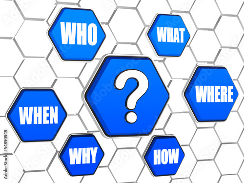question-mark and question words in blue hexagons