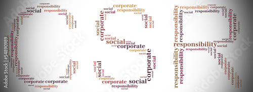 Tag or word cloud CSR related in shape of CSR