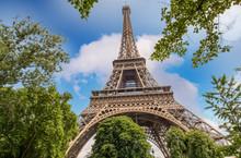 Paris. La tour et les arbres en saison estivale Eiffel