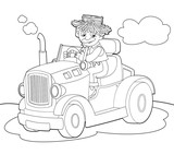 The coloring plate - farm vehicle