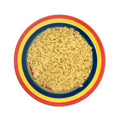 Cooked orzo pasta on bright plate