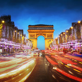 Arc de triomphe Paris city at sunset - Arch of Triumph and Champ