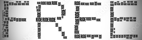 Tag or word cloud free ride related in shape of FREE