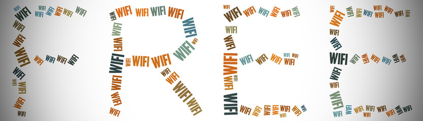 Tag or word cloud wifi related in shape of free word